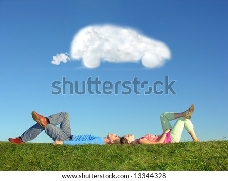 couple and cloud dream car - stock photo