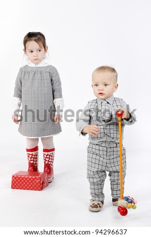 couple and gift box - stock photo