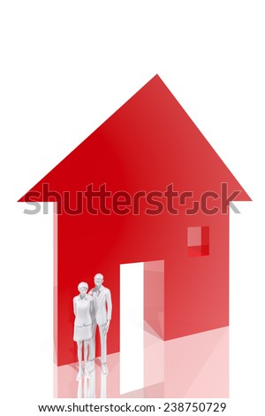 Couple and house symbol - stock photo
