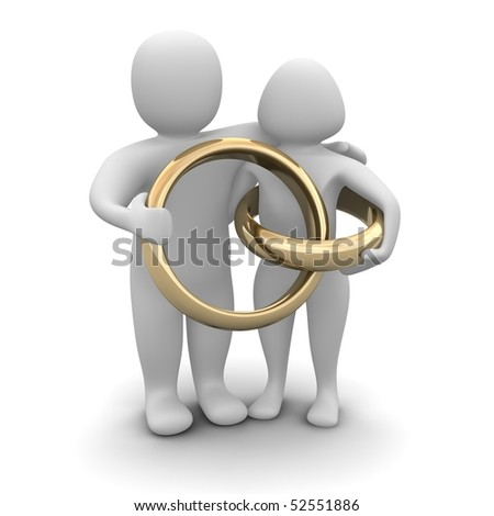 Couple and wedding rings. 3d rendered illustration. - stock photo
