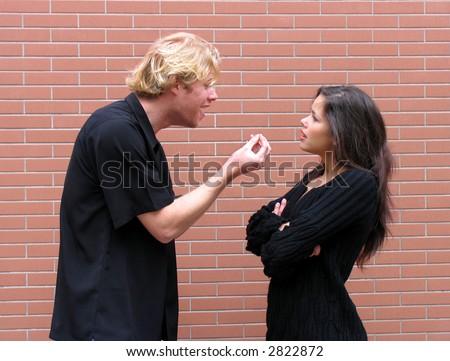 Couple arguing, mad, sadness because misunderstanding - stock photo