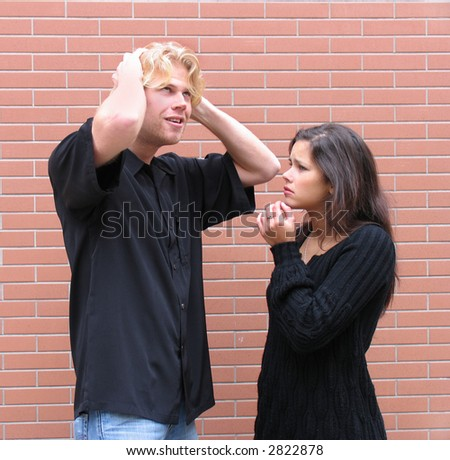 Couple arguing, mad, sadness because misunderstanding - stock photo