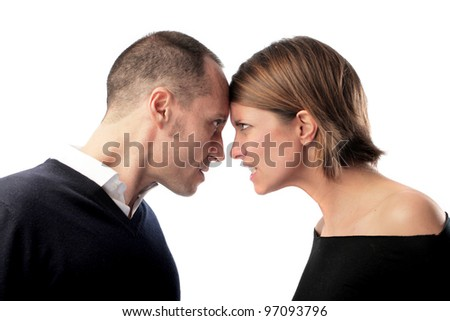 Couple arguing with each other - stock photo