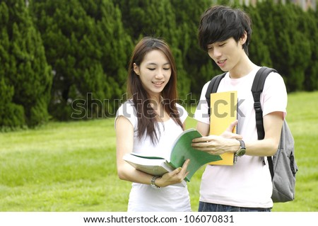 Couple asian college student at a campus - stock photo