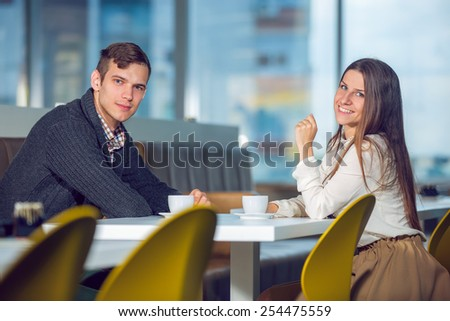 Couple at cafe  selective focus - stock photo