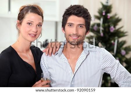 couple at Christmas - stock photo