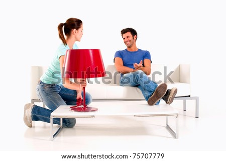 couple at home - stock photo
