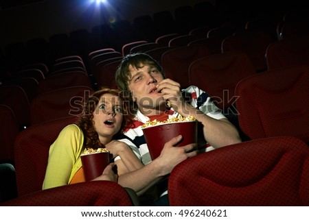 Couple at horror film