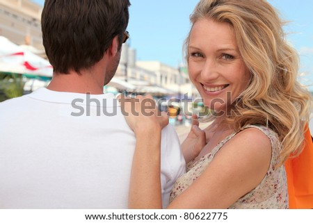Couple at the market - stock photo