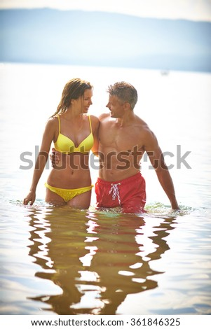 Couple at the sea - stock photo
