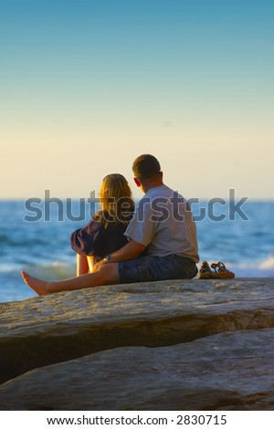 couple await sunset