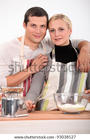 Couple baking - stock photo