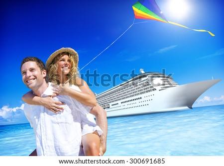 Couple Beach Bonding Romance Holiday Concept - stock photo