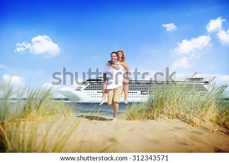 Couple Beach Cruise Vacation Holiday Leisure Summer Concept - stock photo