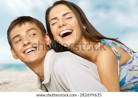 Couple, Beach, Summer. - stock photo