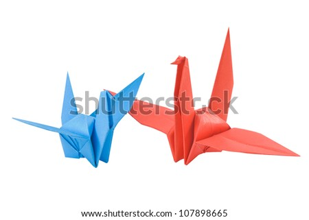 couple bird made from paper isolated on white background - stock photo
