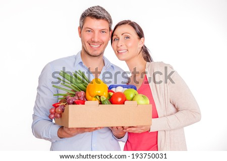 couple bought supermarket fresh healthy groceries - stock photo