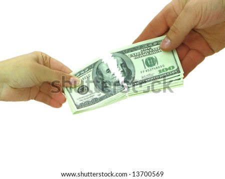 Couple breaking money after divorce or breaking contract - stock photo