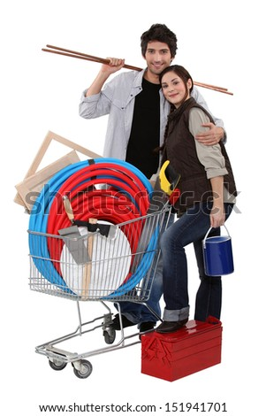 Couple buying DIY materials - stock photo