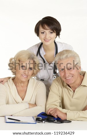 couple came to the reception to the young doctor - stock photo
