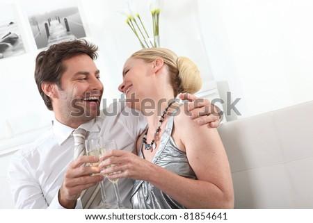 Couple celebrating - stock photo