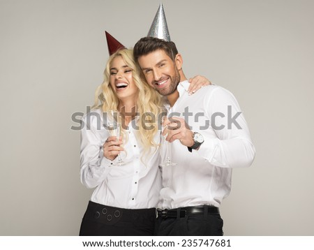 Couple celebrating new year's eve  - stock photo