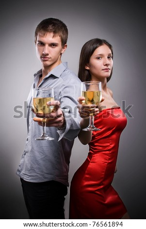 Couple celebration with wine.