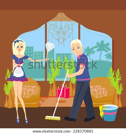 couple cleaning home