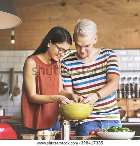 Couple Cooking Food Feeding Sweet Concept - stock photo