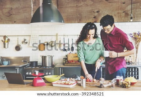Couple Cooking Hobby Liefstyle Concept - stock photo