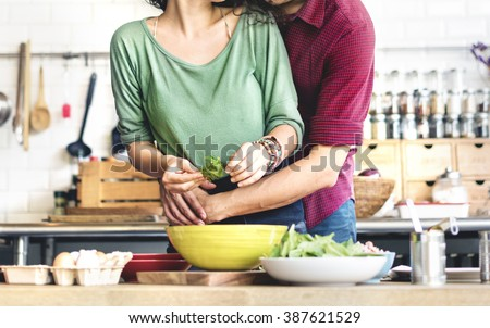 Couple Cooking Hobby Lifestyle Concept - stock photo