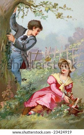 Couple Courting - A romantic flower gathering in the country - a Victorian style illustration, circa 1890 - stock photo