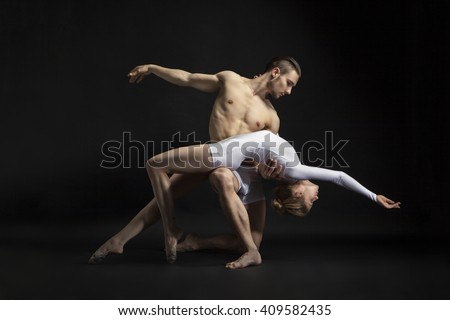 couple dancing cotemporary - stock photo