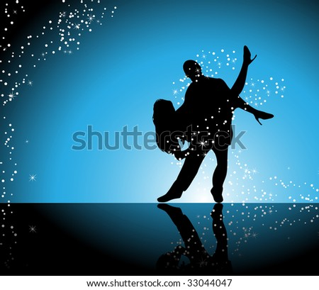 Couple dancing on blue background surrounded by sparkling stars - stock photo