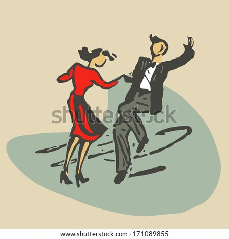 couple dancing rock'n'roll retro stile stock illustration