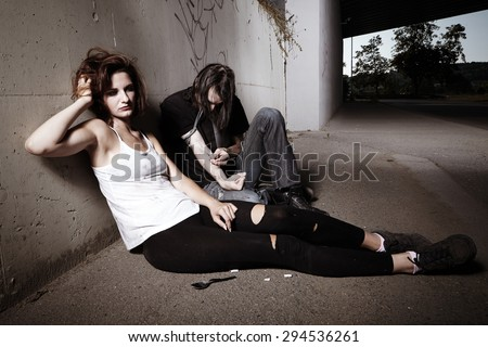 Couple deep in drugs using pervitin - stock photo