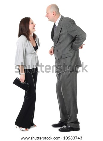 couple discussing something isolated on white
