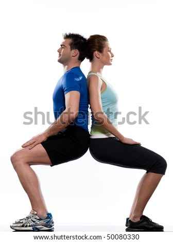 couple doing workout on white isolated background - stock photo