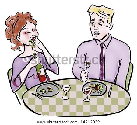 Couple eating at restaurant  Table Etiquette Clip Art