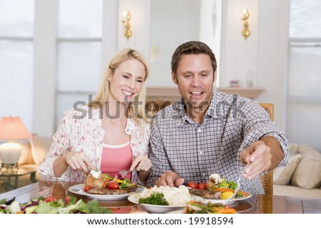 Couple Eating meal,mealtime Together - stock photo