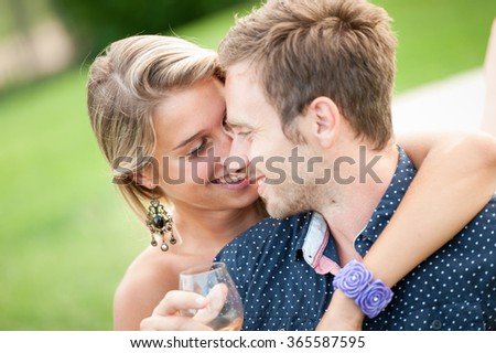 couple enjoy aperitif during the party - stock photo