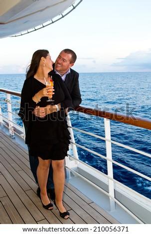 Couple Enjoying a Cruise Vacation  - stock photo
