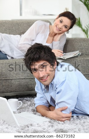 Couple enjoying their spare time together - stock photo