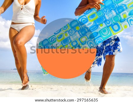 Couple enjoying their tropical beach holiday. - stock photo
