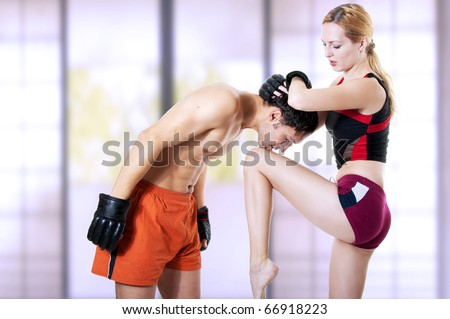 Couple Fighters Woman Instructor Men Training Stock Photo 66918223 ...