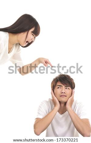 couple fighting isolated - stock photo