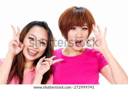 couple friends having fun - stock photo