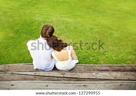 Couple from the back - stock photo
