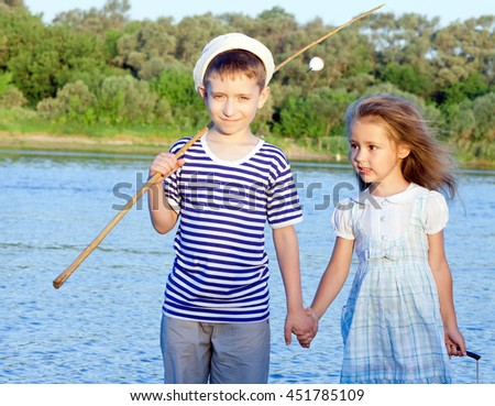 couple, funny boy and girl summer portrait of friend - stock photo