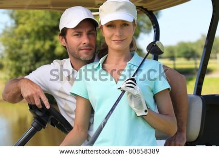couple game golf - stock photo